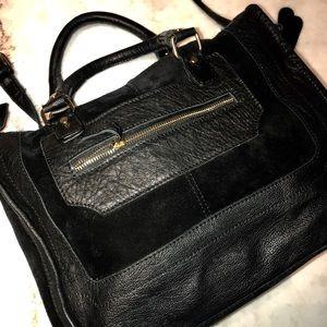 Genuine black leather-suede Top Shop crossbody